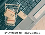boxes in a trolley on a... | Shutterstock . vector #569285518
