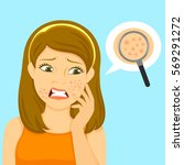 unhappy girl with pimples on... | Shutterstock .eps vector #569291272
