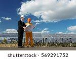 engineer checking the solar... | Shutterstock . vector #569291752