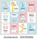 set of baby shower cards.... | Shutterstock .eps vector #569298586