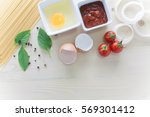 spaghetti with ingredients for... | Shutterstock . vector #569301412