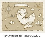 vintage parchment vector map... | Shutterstock .eps vector #569306272