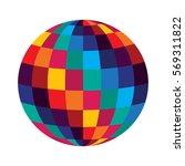disco ball  colorful sphere... | Shutterstock .eps vector #569311822