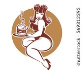 beauty plus size pinup girl... | Shutterstock .eps vector #569312392