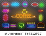 set of neon sign light at night ... | Shutterstock .eps vector #569312932