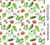 vegetable seamless pattern with ... | Shutterstock . vector #569315302