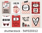 love collection with 8 cards.... | Shutterstock .eps vector #569320312