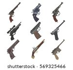 firearm set. guns  pistols ... | Shutterstock .eps vector #569325466