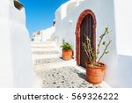 white architecture in santorini ... | Shutterstock . vector #569326222