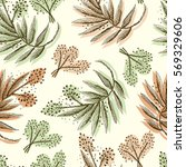 floral forest seamless pattern. ... | Shutterstock .eps vector #569329606