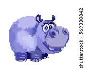 vector hippo image pixel art | Shutterstock .eps vector #569330842