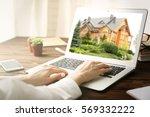 online shopping concept. woman... | Shutterstock . vector #569332222