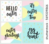 set with happy easter gift... | Shutterstock .eps vector #569339866