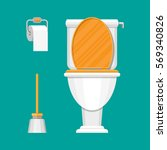 white ceramics toilet  toilet... | Shutterstock .eps vector #569340826