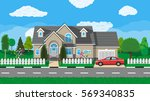 private suburban house with car ... | Shutterstock .eps vector #569340835