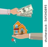 hands with money and house....   Shutterstock .eps vector #569340895