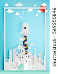 beautiful cityscape with rocket ... | Shutterstock .eps vector #569350846