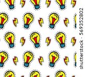 light bulb patches seamless... | Shutterstock .eps vector #569352802