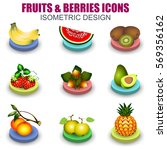 set of fruits and berries... | Shutterstock .eps vector #569356162