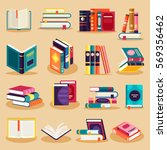 colored books icons set in flat ... | Shutterstock .eps vector #569356462