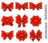 set of different red bows... | Shutterstock .eps vector #569356492
