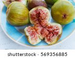 ripe fig fruit on a plate | Shutterstock . vector #569356885