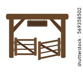 paddock gate icon in cartoon... | Shutterstock .eps vector #569358502