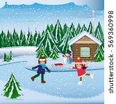 illustration of winter scene  | Shutterstock .eps vector #569360998