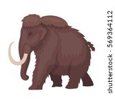 mammoth icon in cartoon style...