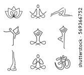 yoga line art icons. yoga line... | Shutterstock .eps vector #569366752