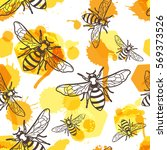 vector seamless pattern with... | Shutterstock .eps vector #569373526