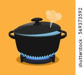 cooking concept. in a pan... | Shutterstock .eps vector #569373592