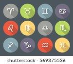 set of zodiac symbols  round... | Shutterstock .eps vector #569375536