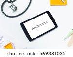 slanted shot of doctors tablet... | Shutterstock . vector #569381035