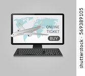 buy airline tickets online.... | Shutterstock .eps vector #569389105