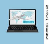 passenger plane and laptop book ... | Shutterstock .eps vector #569389135