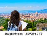 travel to europe. happy tourist ... | Shutterstock . vector #569396776
