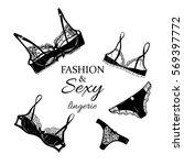 fashion women black lingerie... | Shutterstock .eps vector #569397772