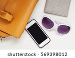 woman brown leather bag with... | Shutterstock . vector #569398012