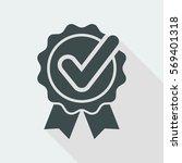 checkmark on ribbon   vector... | Shutterstock .eps vector #569401318