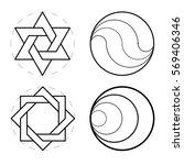 set of geometric shapes. sacred ... | Shutterstock .eps vector #569406346