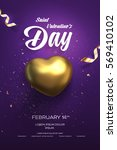 happy valentine's day flyer or... | Shutterstock .eps vector #569410102