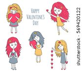 cute girls with hearts. cute... | Shutterstock .eps vector #569420122
