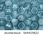 bitcoin and blockchain blue and ... | Shutterstock . vector #569425822