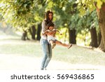 mother and daughter playing ... | Shutterstock . vector #569436865