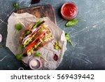 fresh sandwich with guacamole ... | Shutterstock . vector #569439442