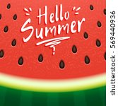 watermelon background with hand ... | Shutterstock .eps vector #569440936