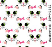 seamless pattern with cat face. ... | Shutterstock .eps vector #569441932