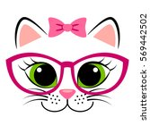 cute white kitten with pink bow ... | Shutterstock .eps vector #569442502