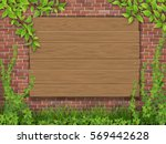 a wooden sign nailed to the...   Shutterstock .eps vector #569442628